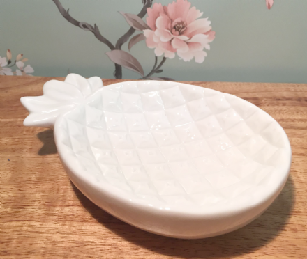 Ceramic White Pineapple Trinket Jewellery Dish Ornament